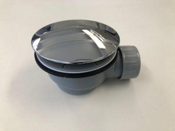 Plat douchebak sifon inbouwhoogte 60mm met afdekplaat chroom