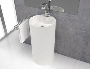 Wastafel vrijstaand Tube ø45x90cm Solid Surface mat wit