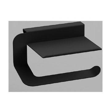 Design toiletrol houder Quick mat zwart met planchet voor smartphone