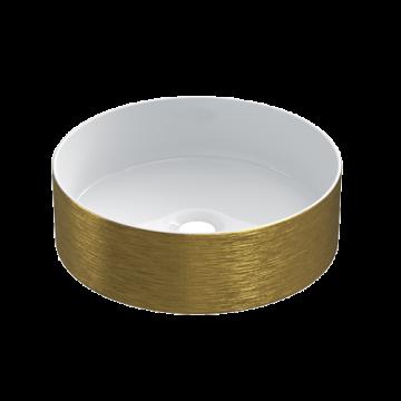 Keramische ronde opbouw waskom Cylindrico ø36cm goudkleurig met witte binnenzijde