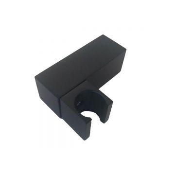 Metalen houder Cuadro voor handdouche vierkant mat zwart