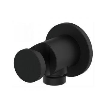 """Handdouchehouder Nero metaal rond mat zwart met water aansluiting ½"""""""
