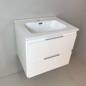 Badmeubel Blanco 60cm, wit met keramische wastafel