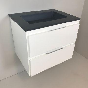Badmeubel Blanco 60cm, wit met composiet wastafel antraciet