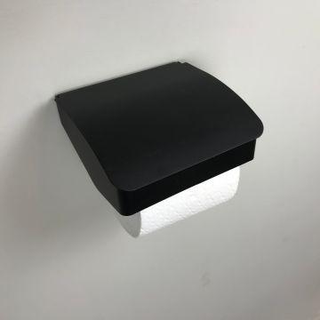 Toiletrolhouder Cube zwart met klep