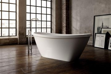 Vrijstaand Solid Surface bad Persia 170x71cm wit glans