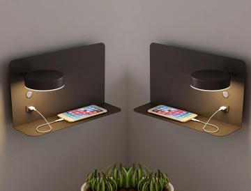 Set van 2 LED wandlampen met planchet, draaibare verlichting en usb aansluiting zwart