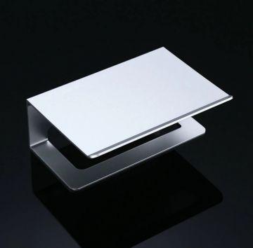 Toiletrolhouder rectángulo mat aluminium met planchet voor smartphone