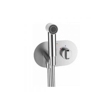Thermostatische bidetdouche inclusief slang 120 cm en kraan chroom