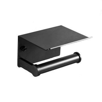 Toiletrolhouder Smart mat zwart met planchet voor smartphone