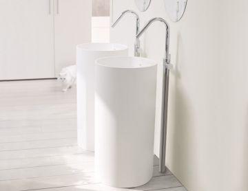 Wastafel vrijstaand Tube ø45x90cm Solid Surface mat wit zonder kraangat