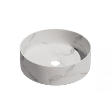 Keramische ronde opbouw waskom Calacatta ø36cm wit marmer met grijze ader