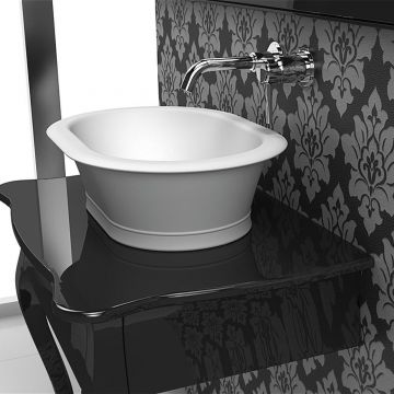 Solid Surface waskom opbouw Classico 50x36cm mat wit