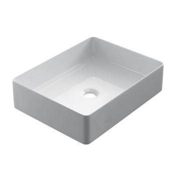 Keramische rechthoekige opbouw waskom Recto 47x37cm wit