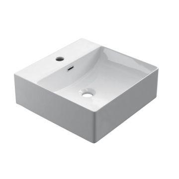 Keramische rechthoekige opbouw waskom Square 40x40cm wit