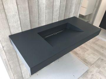 Vrijhangende composiet wastafel Style, 100x45cm antraciet
